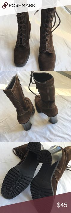 """Nine West Suede Military Lace-Up Mid Boots, 8.5M Nine West Rich Brown Suede """"Lock"""" Boots. Size 8.5M. Trendy Military Style, Lace-Up with rust proof metal grommets. Stacked heel. Cute stitching. Rubber Sole. Leather upper. Man-made sole and lining, made in Brazil. They hit Low to Mid-Calf. Brand-new never worn. ***See pic for showing two minor imperfections (scuffs from storage). Nine West Shoes Combat & Moto Boots"""