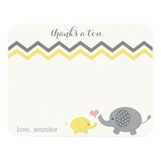 These adorable elephant baby shower thank you cards are perfect if you just had a baby shower. (Yay, a little peanut is on the way!). Featuring a fun chevron pattern and gender neutral gray and yellow. It doesn't matter if you're having a boy, girl or it's a surprise! See my shop for green and gray (gender neutral), blue and gray (it's a boy) or pink (it's a girl!) versions and coordinating items as well.