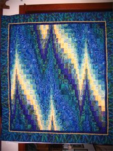 "Blue Bargello by Quilteralice, via Flickr.  Some day Imma gonna try one of these, but I think I will do it in red white and black and call it ""heartbeat"".  I think that would be really cool."