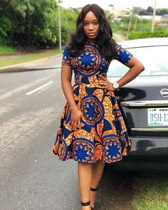 10 Elegant Ankara Styles For Ladies With The Swag. Here are the latest photos (Ankara Style) we have gathered for you and we know you will love them. Short African Dresses, Ankara Short Gown Styles, Short Gowns, Ankara Gowns, African Print Dresses, African Prints, African Fabric, Ankara Styles For Women, African Fashion Ankara