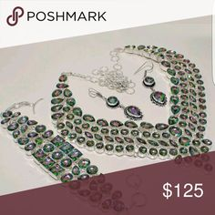 Mystic Topaz Sterling Silver Overlaid Necklace Set Stunning Mystic Topaz over Sterling Silver Overlaid Necklace, Earrings and Bracelet set. Handcrafted in India Jewelry Necklaces