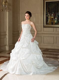 Ball-Gown Sweetheart Chapel Train Taffeta Wedding Dress With Embroidered Ruffle Beading Sequins (002001712)