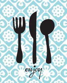 Enjoy Utensils Kitchen Art Print 8x10. $18.00, via Etsy.