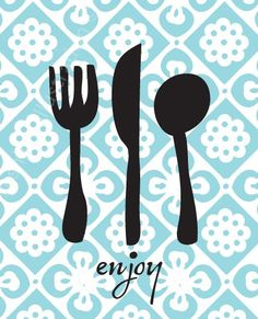 Enjoy Utensils Kitchen Art Print 8x10. $18.95, via Etsy.