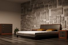 Masculine bedroom design with textured wall dark hard wood floor and low bed frame in a Modern Master Bedroom, Modern Bedroom Decor, Master Bedroom Design, Bedroom Wall, Master Bedrooms, Bedroom Ideas, Budget Bedroom, Master Bathroom, Modern Decor