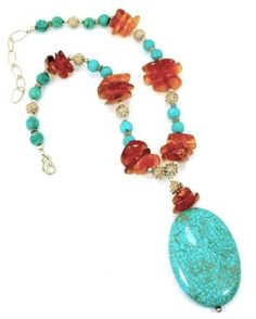 Semi Precious Stones,turquoise and Amber Pendant Necklace One of a Kind Unique Handcrafted Jewelry Designs by Iris  One of a Kind Jewelry, http://www.amazon.com/dp/B0058ES9DS/ref=cm_sw_r_pi_dp_yNIqrb0PNZC19