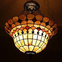 40W Classic Tiffany Pendant Light with Nature Shell Material Integrated Shade(Chain Adjustable) – SEK Kr. 1,682
