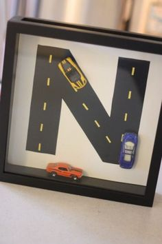 road with car shadow box Car Bedroom, Kids Bedroom, Hot Wheels Bedroom, Bedroom Decor, Shadow Box, Cuadros Diy, Do It Yourself Inspiration, Baby Boy Nurseries, Kids Decor