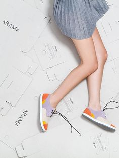 Lace up women sneakers Walking shoes Azotic Topaz by ARAMAshoes