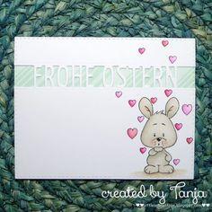 blog.karten-kunst.de - Frohe Ostern mit Herzchen. Stempel: Gerda Steiner Designs – Happy Hoppy, Stanzen: Karten-Kunst – Brückentext Frohe Ostern, Memory Box – Stitched Rectangle Layers