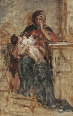 """Motherhood"",by Nikolaos Gyzis Impressionist Paintings, Impressionism, Greek Paintings, Madonna And Child, 10 Picture, Greek Art, Chiaroscuro, Mother And Child, Art World"