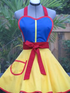 Snow White Cosplay Apron  Ready to Ship by AquamarCouture on Etsy