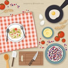 Kitchen elements and food Free Vector