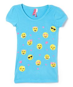 This Turquoise Emojis Tee - Girls is perfect! #zulilyfinds