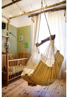 will love this nursery. breastfeeding on the hammock will be just fine