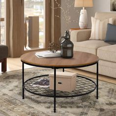 Wood Round Coffee Table – Larpi Store Large Coffee Tables, Coffee Table With Storage, Metal Shelves, Open Shelving, Bathroom Accessories Sets, Rustic Wood, Living Room Designs, Fruit Snacks, Industrial Metal