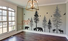 Wall Decal Wall Sticker-Pine tree decal-set of 5 trees with animals, moose, bear, woodland theme Nursery