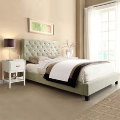 Sophie Taupe Velvet Bed with Two White