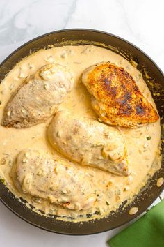 Chicken jalapeno - an easy one-pot dinner with chicken breasts and a jalapeno cheddar cheese sauce | FamilyFoodontheTable.com