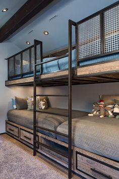 Built in Bunk Beds for a Rustic Kids with a Blue Bedding and Park City Magazine #BunkBeds #kidsroomideasunique