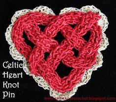 Celtic Knot Heart Pin by Jennifer E Ryan -  www.celticknotcrochet.blogspot.com