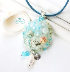 Seashell pendant with white pearl, Blue beaded beach necklace with starfish, One of a kind handmade lampwork glass jewelry Sea Glass Necklace, Glass Jewelry, Glass Beads, Beach Jewellery, Real Pearls, Pearl White, Starfish, Pendant, Handmade