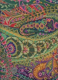 Kaffe Fassett - GP60-Green Paisley Funky Bright Pink Orange Floral Cotton Quilt Fabric