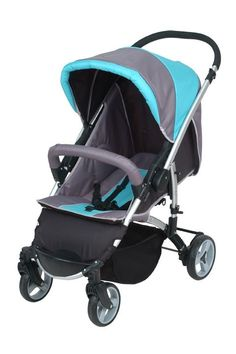 """Sky Color Baby stroller 1. With reversible handle bar 2. Front wheels7""""*2pcs,swivel of fix, shocking-proof and detachable 3. Rear wheels 8""""*2pcs,shocking-proof and detachable, with link brake 4. With 2nd safety lock 5.With one-hand folding system 6.Unfolding Size:53*77*102CM MEAS:48*28.5*85CM"""