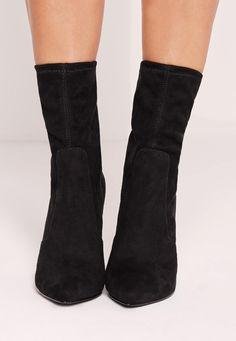 Missguided - Tortoise Shell Ankle Sock Boot Black