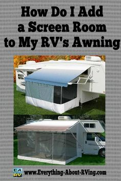 Here is Our answer To:  How Do I Add a Screen Room to My RV's Awning?  Most awning screen rooms fit both manual or automatic awnings. There are basically two different types of Awning Screen Rooms... Read More: http://www.everything-about-rving.com/how-do-i-add-a-screen-room-to-my-rvs-awning.html