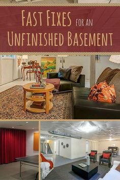 If you have an unfinished basement, you probably don't want to spend a ton of time down there. The air is musty, the floors are damp, and it feels just a tiny bit creepy. Luckily, there are some…More Basement Office, Basement Laundry, Basement Apartment, Basement Bedrooms, Basement Flooring, Basement Bathroom, Basement Kitchen, Basement Furniture, Basement Storage