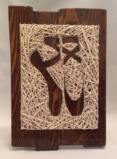 """#Handmade wood & string wall art - ballet #slippers #11""""x15"""",  View more on…"""