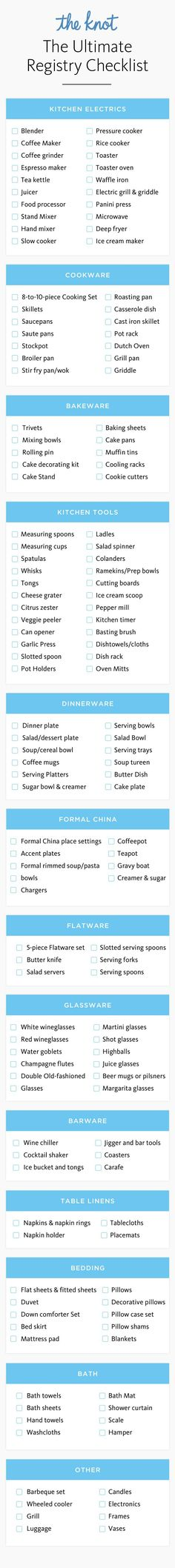 Ready to register? Whether you're just starting or you're putting the finishing touches to your perfect registry, make sure you've checked off all of your wedding registry essentials with our interactive checklist. Don't forget to print your custom list once you're finished!