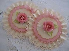 Vintage Lace Shabby Pink Handmade Rose Flower van vsroses op Etsy