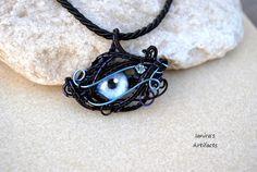 Light blue eye wire wrapped pendant  OOAK by Ianira on Etsy