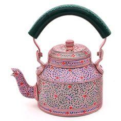 Pink Hand Painted Tea Pot in Aluminium - Madhubani Art, Tea Pot Set, Coffee Set, Vintage Tea, Kettle, Tea Cups, Gifts For Her, Pottery, Hand Painted