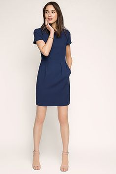 Esprit - Etui-Stretch-Kleid aus weichem Gewebe im Online Shop kaufen