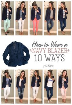 How to wear and style 1 navy knit blazer 10 different ways! Perfect to dress up . How to wear and style 1 navy knit blazer 10 different ways! Perfect to dress up or down! How to wear and style 1 navy knit blazer 10 differ. Navy Blazer Outfits, Look Blazer, Knit Blazer, Casual Work Outfits, Mode Outfits, Work Casual, Casual Looks, Fashion Outfits, Navy Blazers
