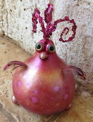 Photos of Past Work - jennifers gourds -- silly bird with bead, feather + eye add-ons
