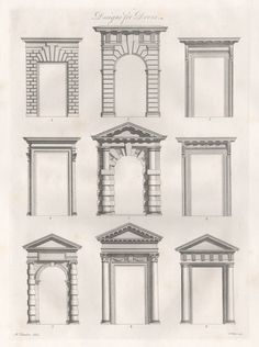 F Patton after Sir William Chambers (1723 – 1796) - Designs for Doors 1794