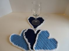 Coaster Set Crocheted Coasters Blue by TinasTreasureIsland on Etsy