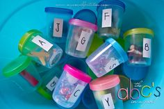 "Alphabet in jar from Small Potatoes....""Our spin"" I used these in my classroom all the time to teach letter and letter sounds. Great resource to create at home with your kids!"