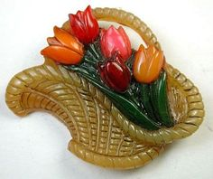 Brad Elfrink Hand Carved Bakelite Studio Button Tulips in Fancy Basket.