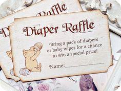 Vintage Inspired Classic Winnie the Pooh Diaper Raffle Ticket - Set of 10 - Baby Shower Invitations, Birthday Invitations