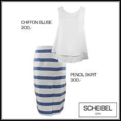 White shirt, chiffon blouse, blue stribes, pencil skirt, summer outfit, wedding outfit, Scheibel Cph, fashion inspiration