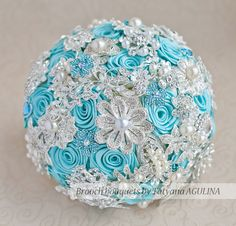 Brooch bouquet. Turquoise and Silver wedding by MagnoliaHandmade, $200.00