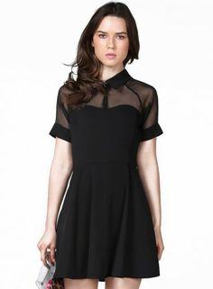 Black Short Sleeve Mesh Peak Collar Skater Dress pictures