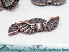 Antique Copper Finish Wing Beads 7x21.5mm by MindzManifestations, $5.00