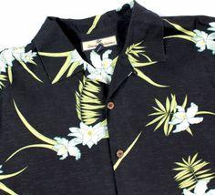 Tommy Bahama Black L  Hawaiian LOTUS Camp ROCKBILLY S/S Shirt Mens LARGE #TommyBahama #Hawaiian