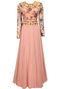 Pink dori embroidered floral print anarkali set by Bhumika Shrma. Shop at: http://www.perniaspopupshop.com/designers/bhumika-sharma #anarkali #bhumikasharma #shopnow #perniaspopupshop